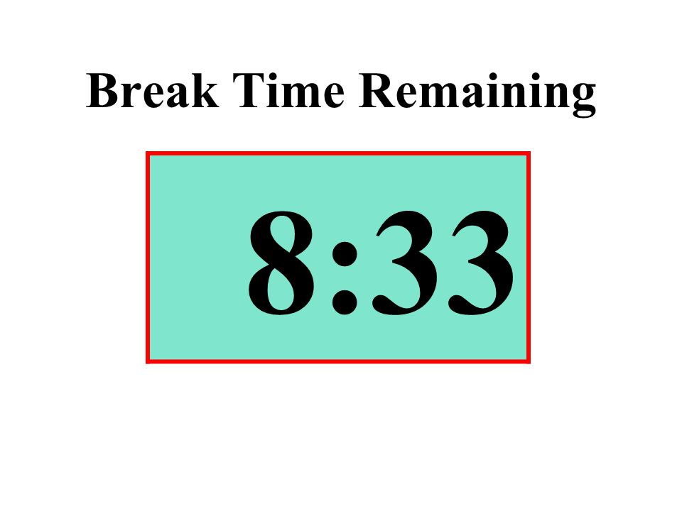 Break Time Remaining 8:33
