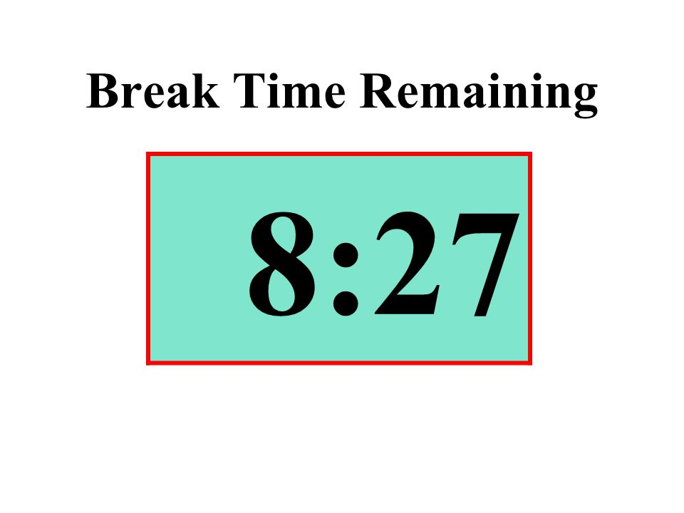 Break Time Remaining 8:27