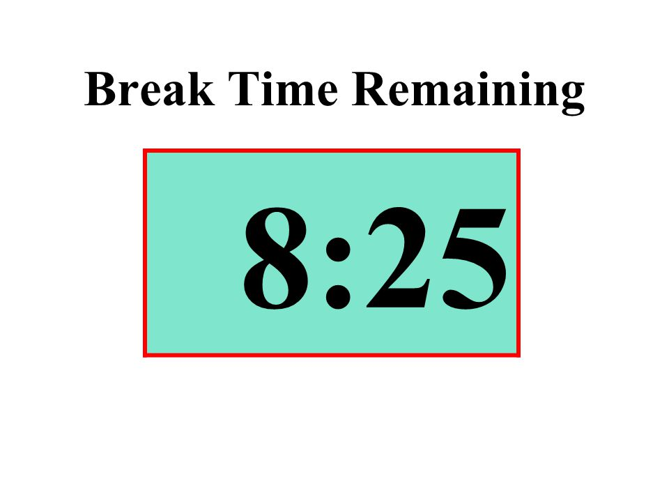 Break Time Remaining 8:25