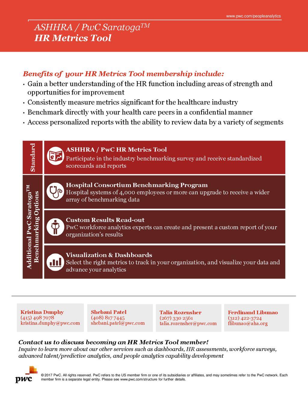 ASHHRA / PwC SaratogaTM HR Metrics Tool - ppt download