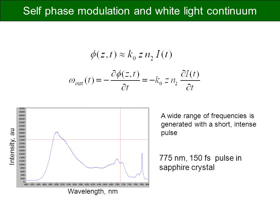 Self phase modulation and white light continuum
