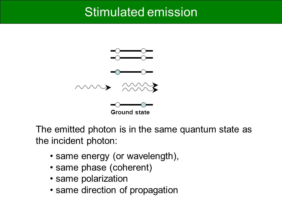 Stimulated emission Ground state. The emitted photon is in the same quantum state as the incident photon: