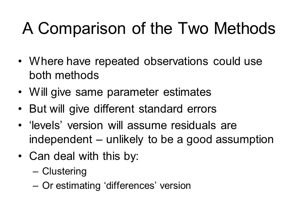 A Comparison of the Two Methods