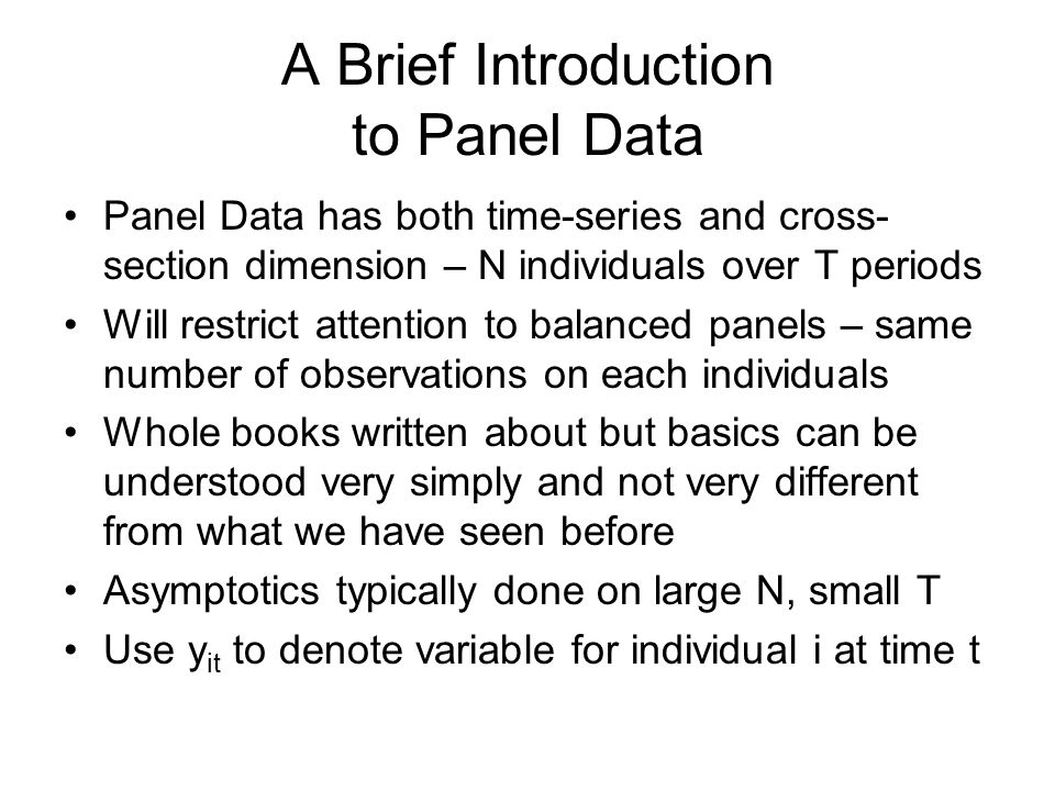 A Brief Introduction to Panel Data
