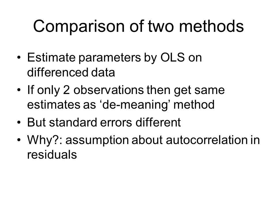 Comparison of two methods