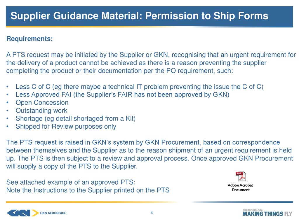 SQA01 Supplier Guidance Material: Permission to Ship Forms