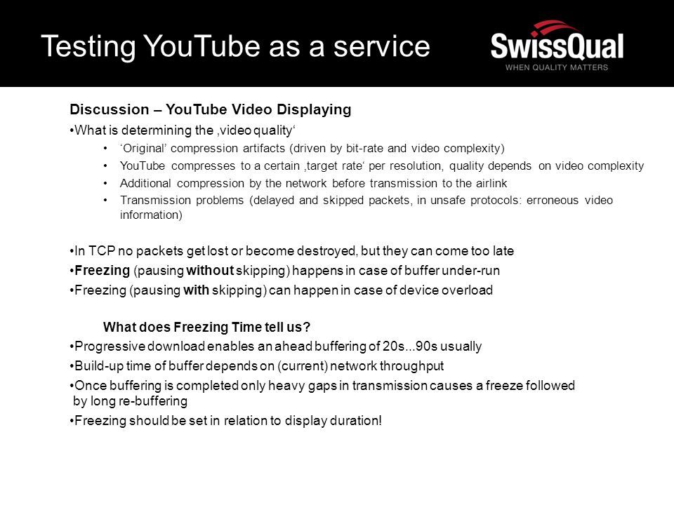 Testing 'Video over TCP/IP' on example of YouTube Streaming