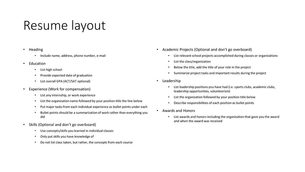 Resume Layout Heading Education Experience Work For