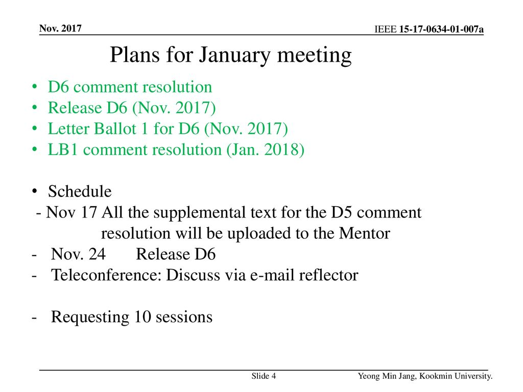 Plans for January meeting