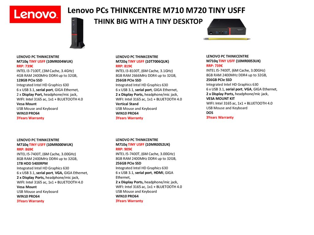 Lenovo Business PCs Monitors & All in one PCs - ppt download