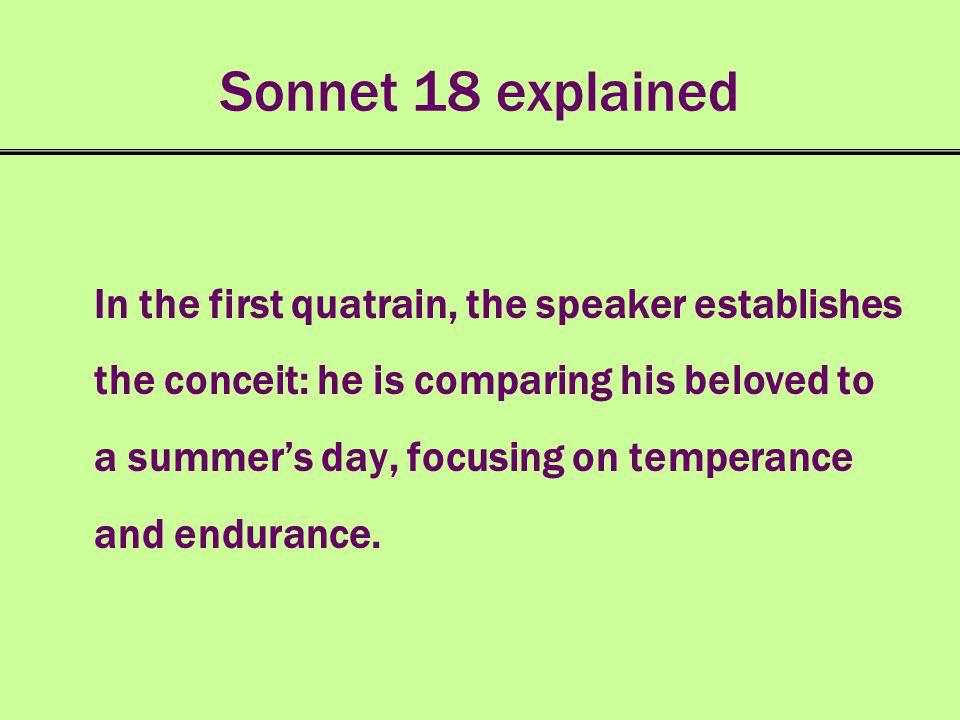 paraphrase the first quatrain in sonnet 18