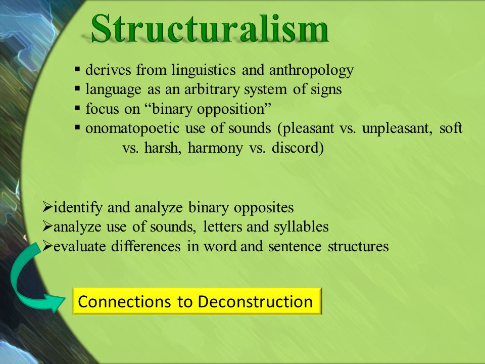 Structuralism Connections to Deconstruction