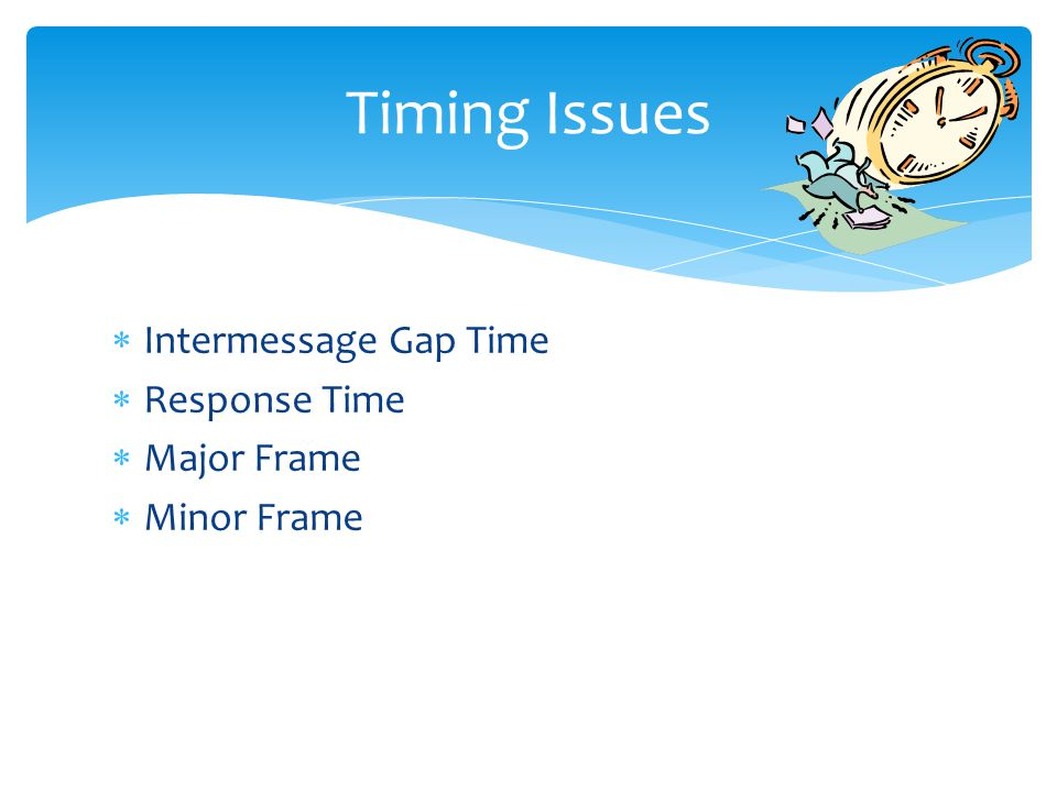 Timing Issues Intermessage Gap Time Response Time Major Frame