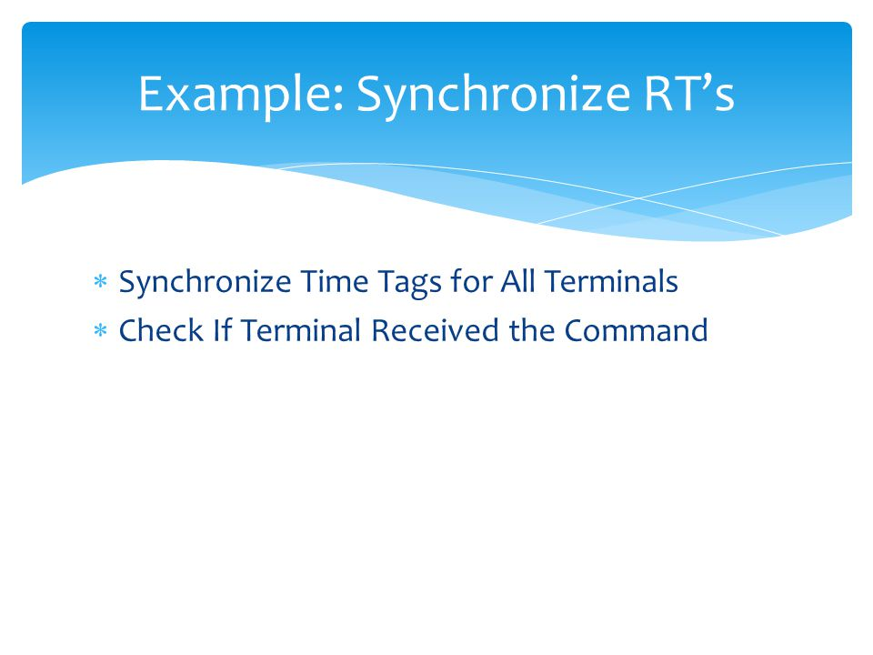 Example: Synchronize RT's