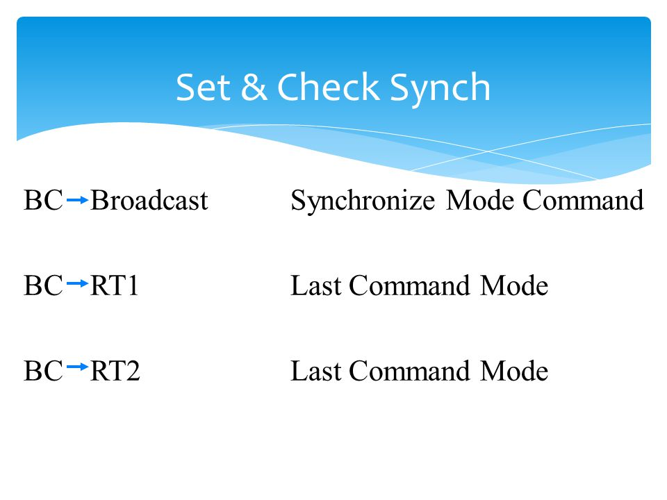 Set & Check Synch BC Broadcast Synchronize Mode Command