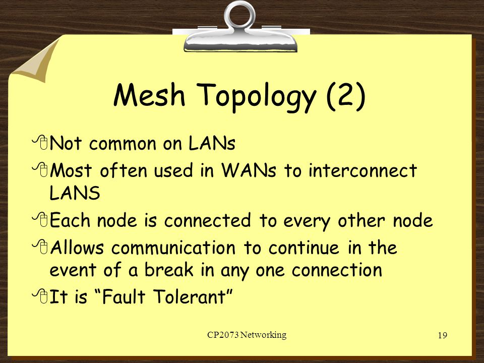 Mesh Topology (2) Not common on LANs