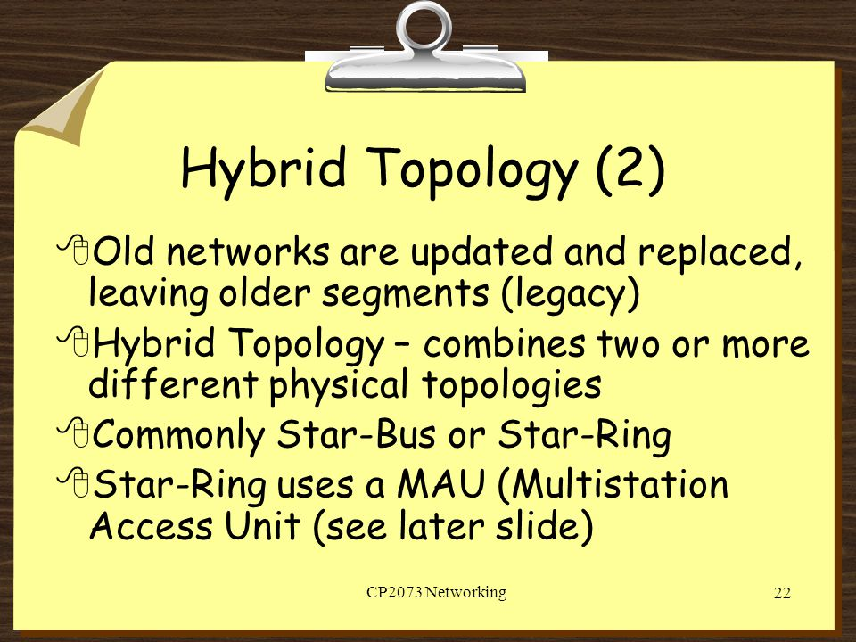 Hybrid Topology (2) Old networks are updated and replaced, leaving older segments (legacy)