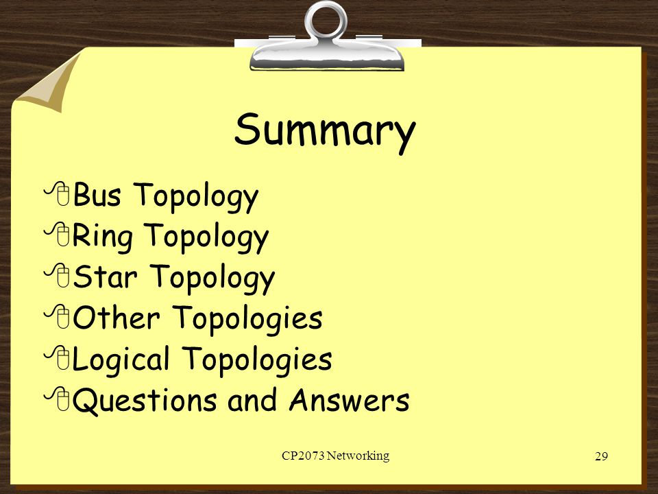 Summary Bus Topology Ring Topology Star Topology Other Topologies