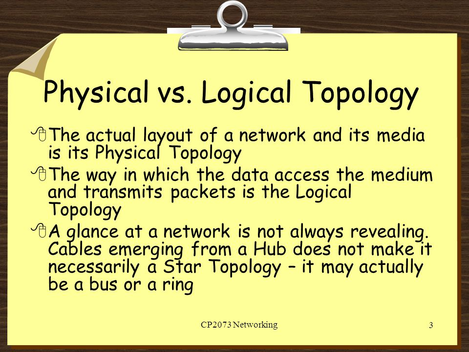 Physical vs. Logical Topology