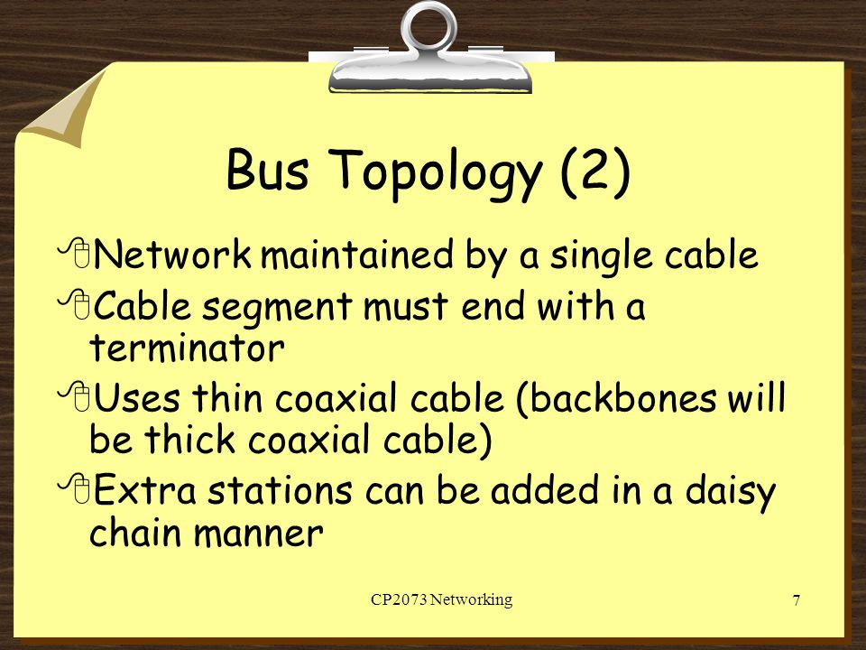Bus Topology (2) Network maintained by a single cable
