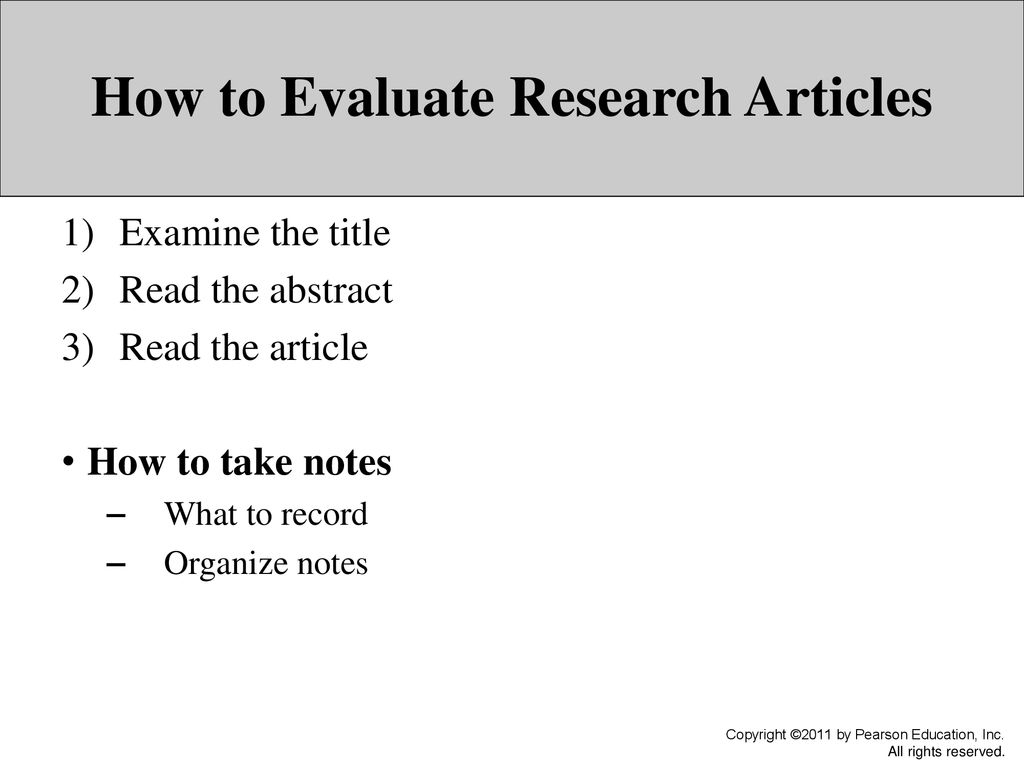 how to evaluate a research article
