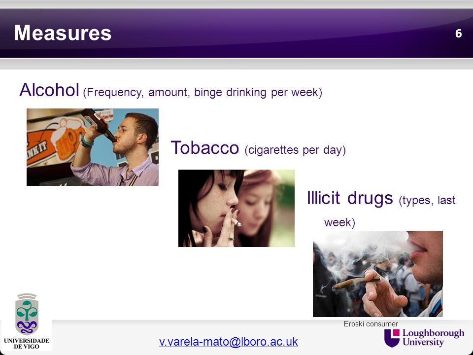 Measures Alcohol (Frequency, amount, binge drinking per week)