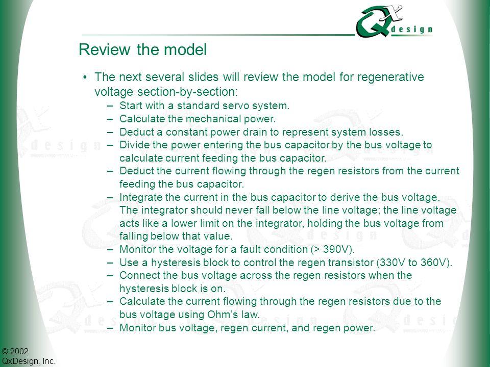 Voltage regeneration in servo systems Visual ModelQ Training