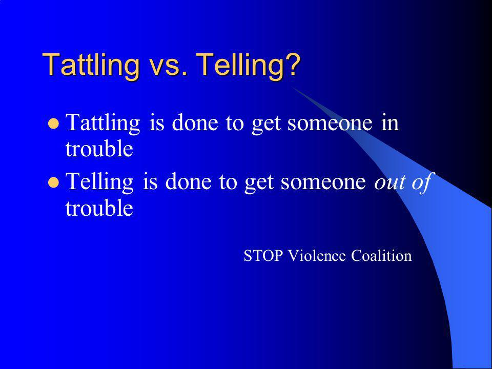 Tattling vs. Telling Tattling is done to get someone in trouble