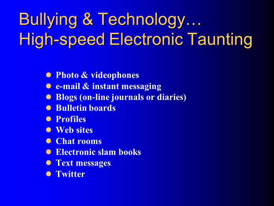 Bullying & Technology… High-speed Electronic Taunting