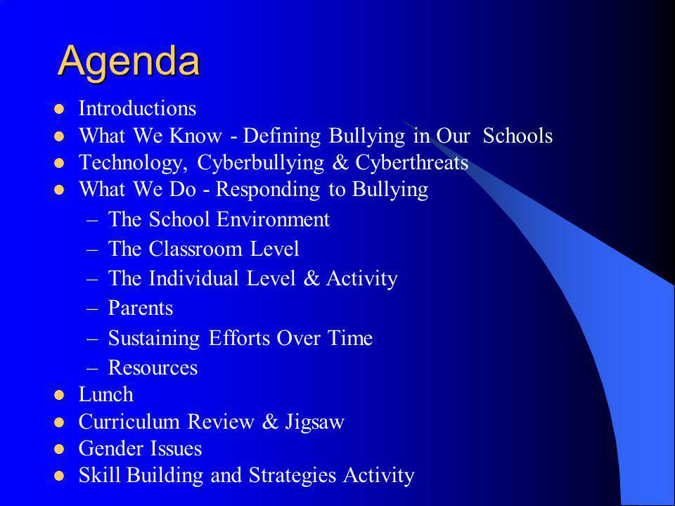 Agenda Introductions What We Know - Defining Bullying in Our Schools