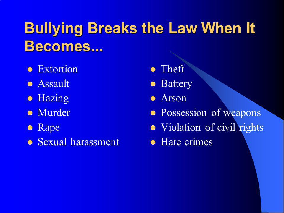 Bullying Breaks the Law When It Becomes...