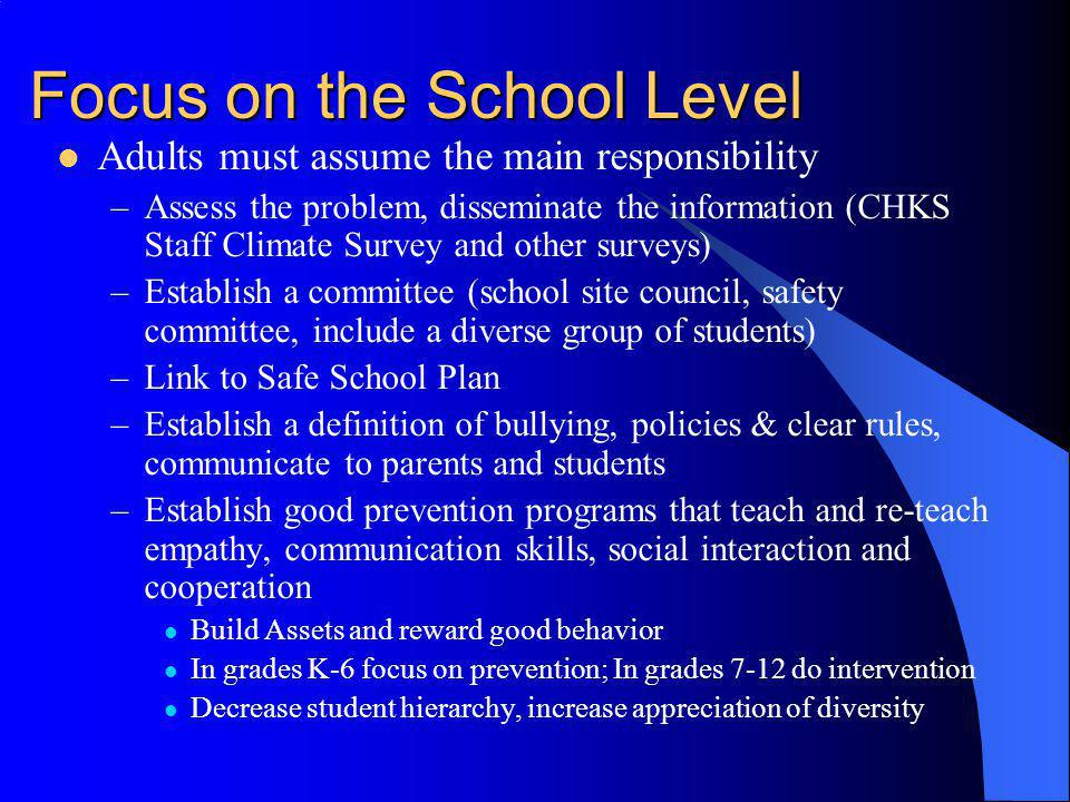 Focus on the School Level
