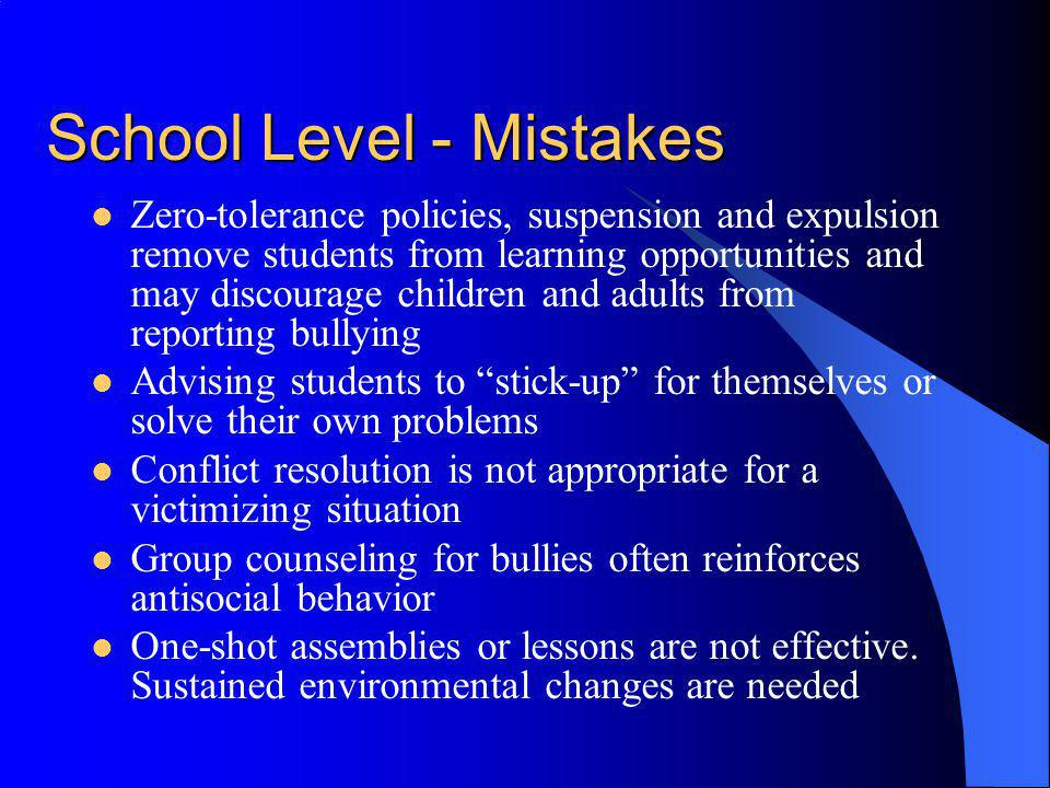 School Level - Mistakes