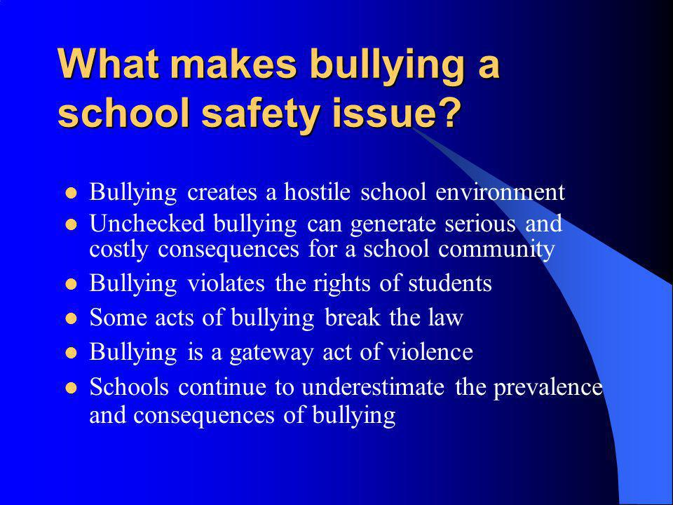 What makes bullying a school safety issue