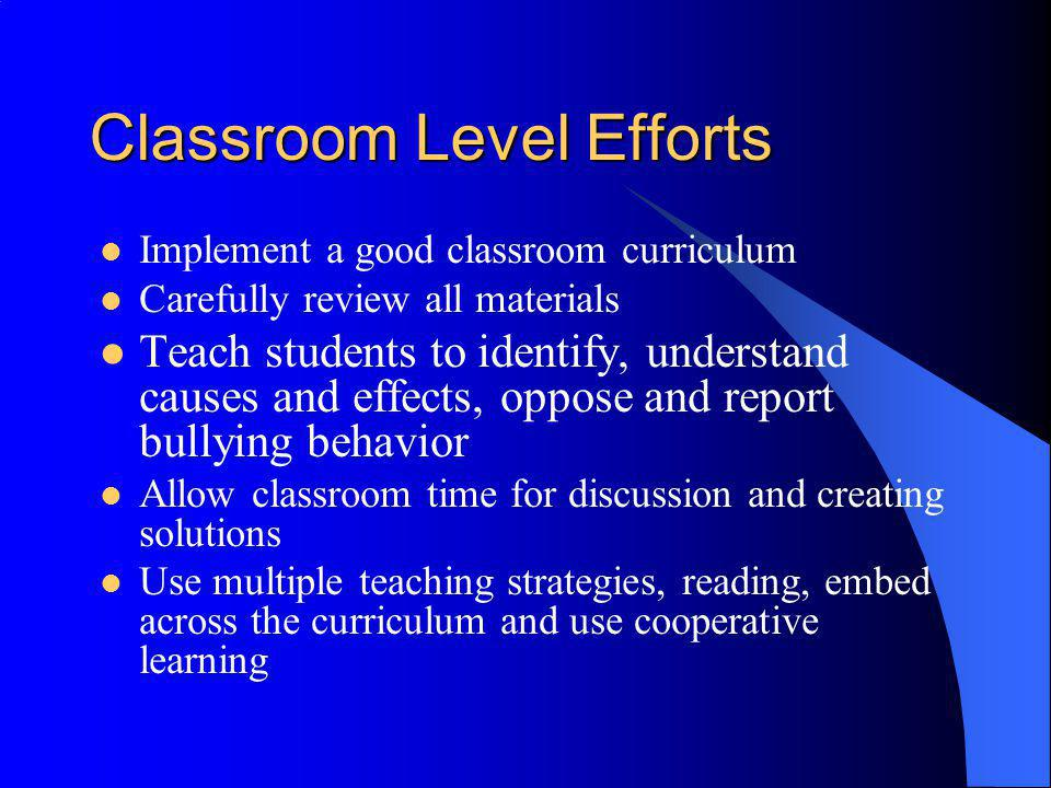 Classroom Level Efforts