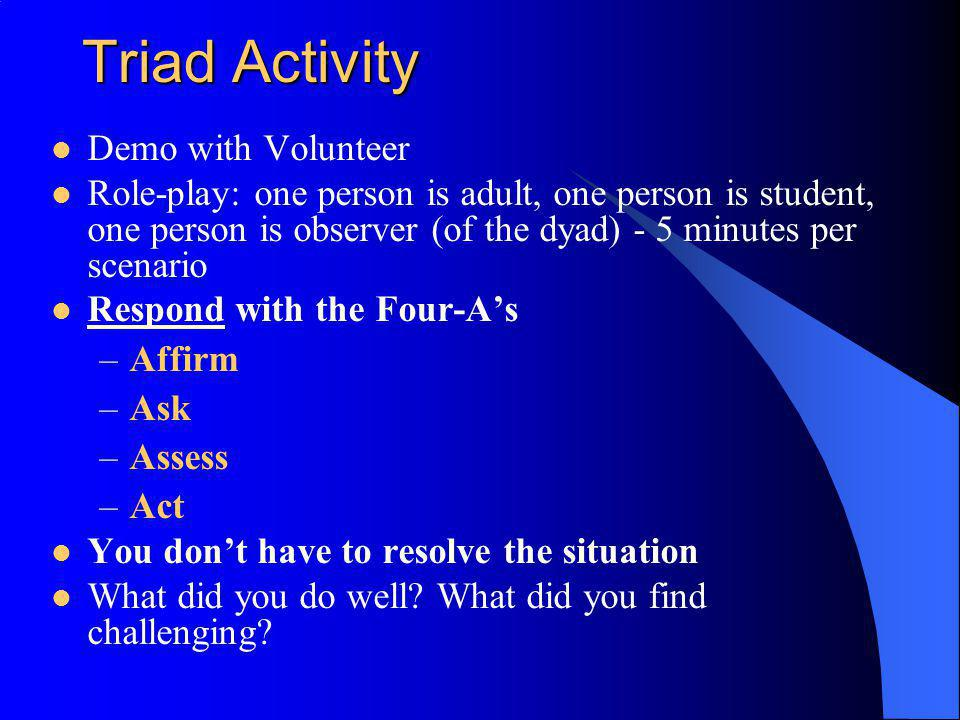 Triad Activity Demo with Volunteer