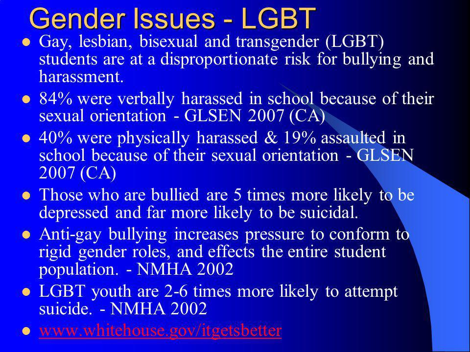 Gender Issues - LGBT Gay, lesbian, bisexual and transgender (LGBT) students are at a disproportionate risk for bullying and harassment.