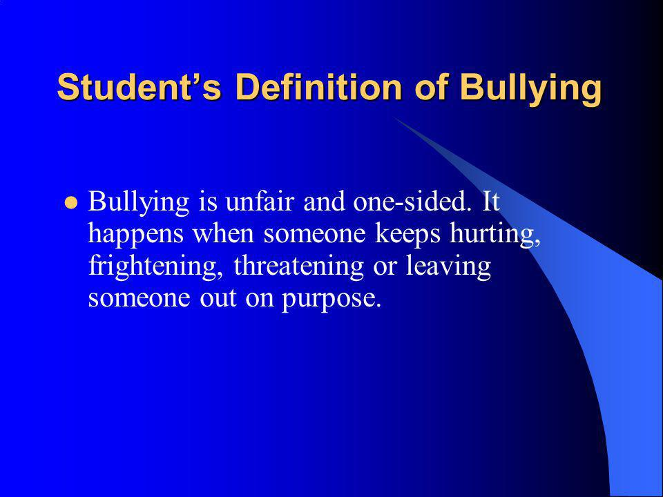 Student's Definition of Bullying