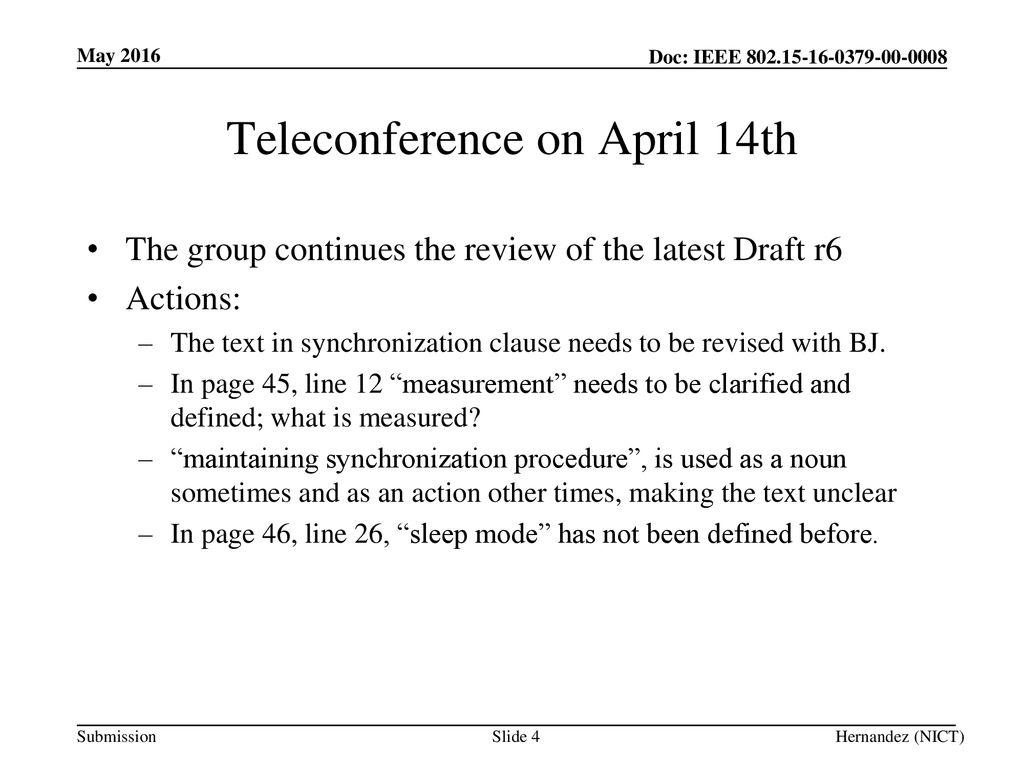 Teleconference on April 14th
