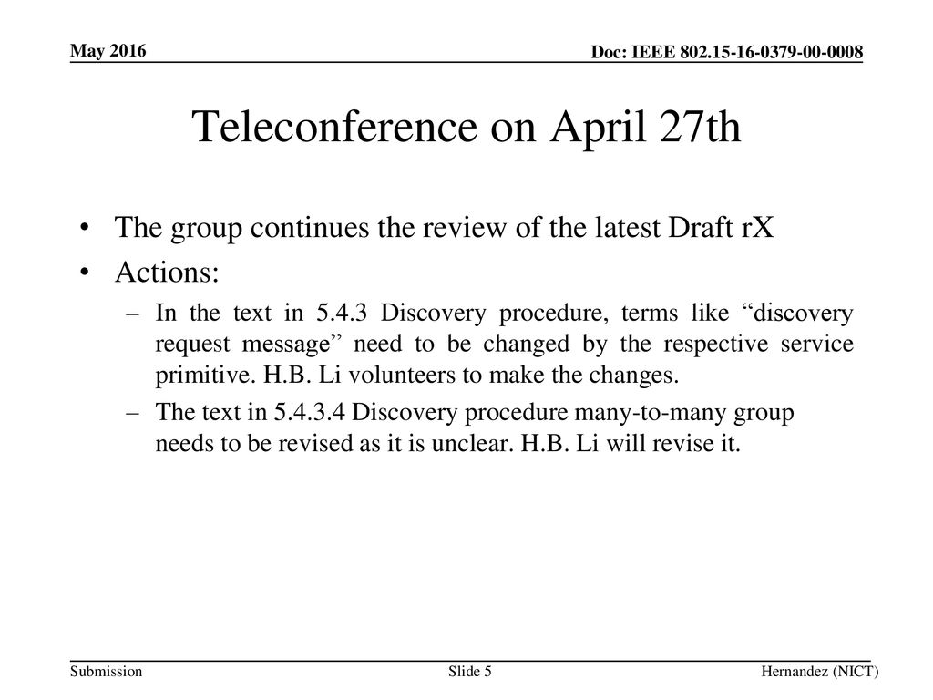 Teleconference on April 27th