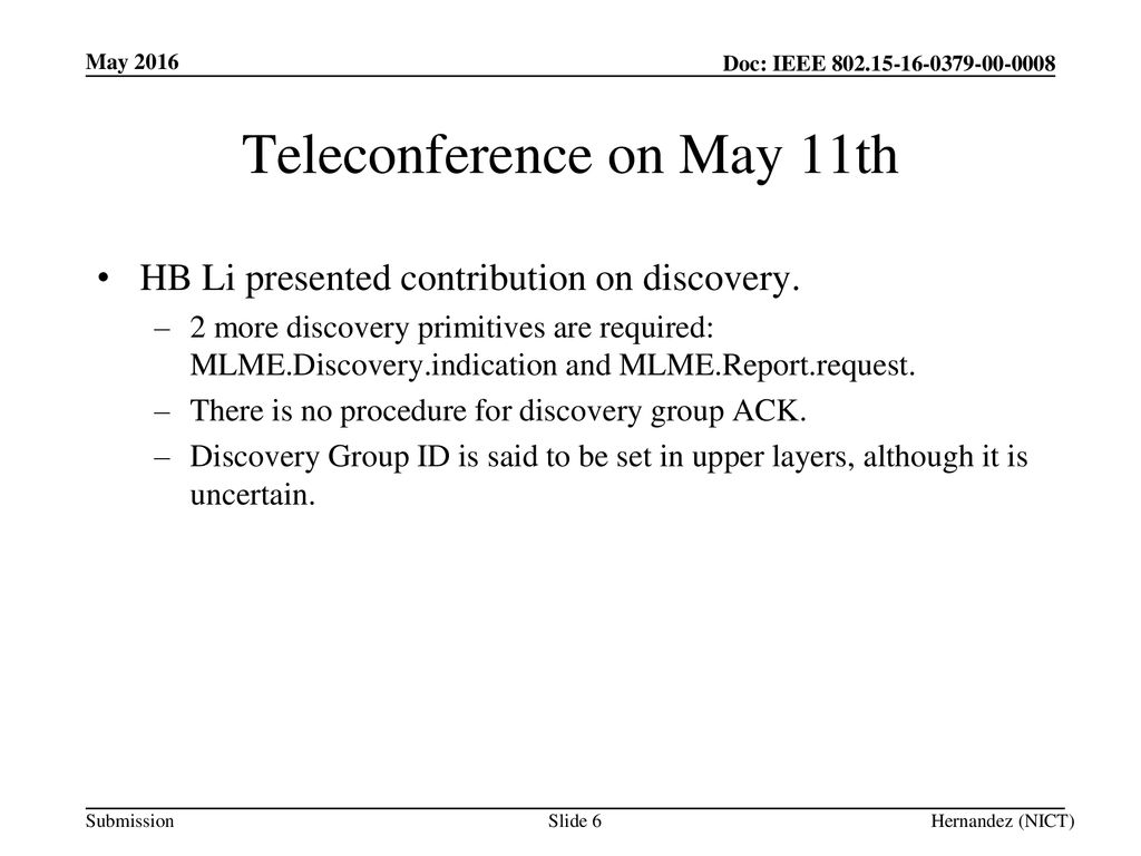 Teleconference on May 11th