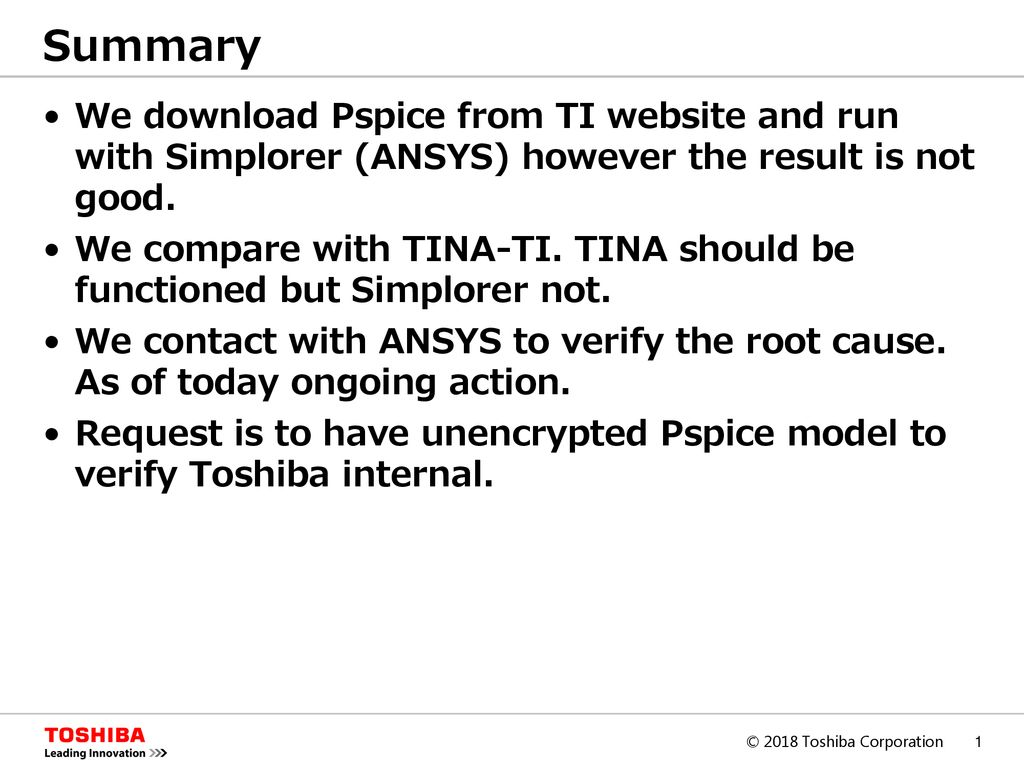 Summary We download Pspice from TI website and run with