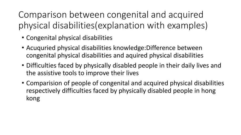 examples of physical disabilities