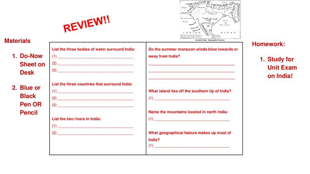 REVIEW Materials Homework Do Now Sheet On Desk Ppt Download