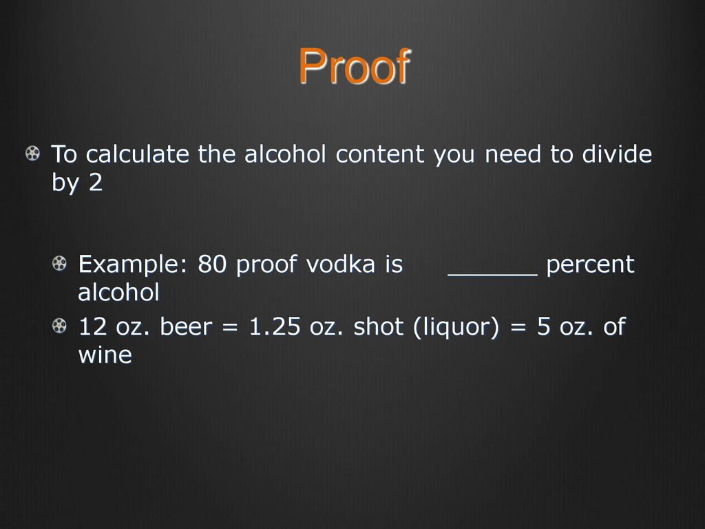 how do you calculate alcohol proof