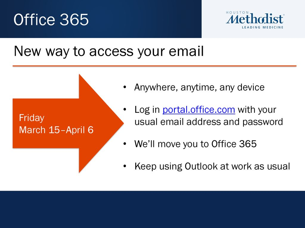 Microsoft Office 365 Houston Methodist Hospital March 15