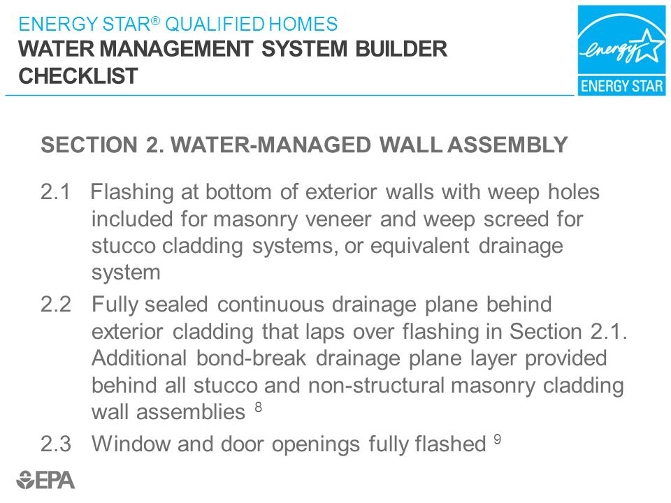 SECTION 2. WATER-MANAGED WALL ASSEMBLY