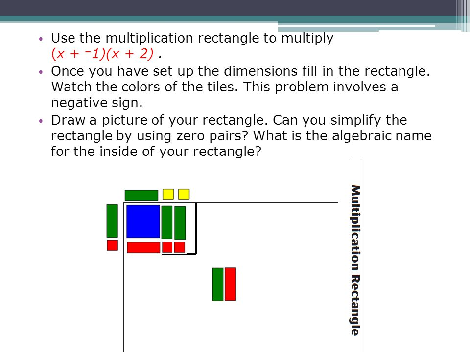 Use the multiplication rectangle to multiply (x + −1)(x + 2) .