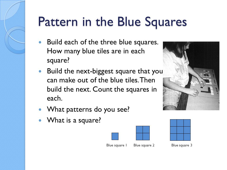 Pattern in the Blue Squares