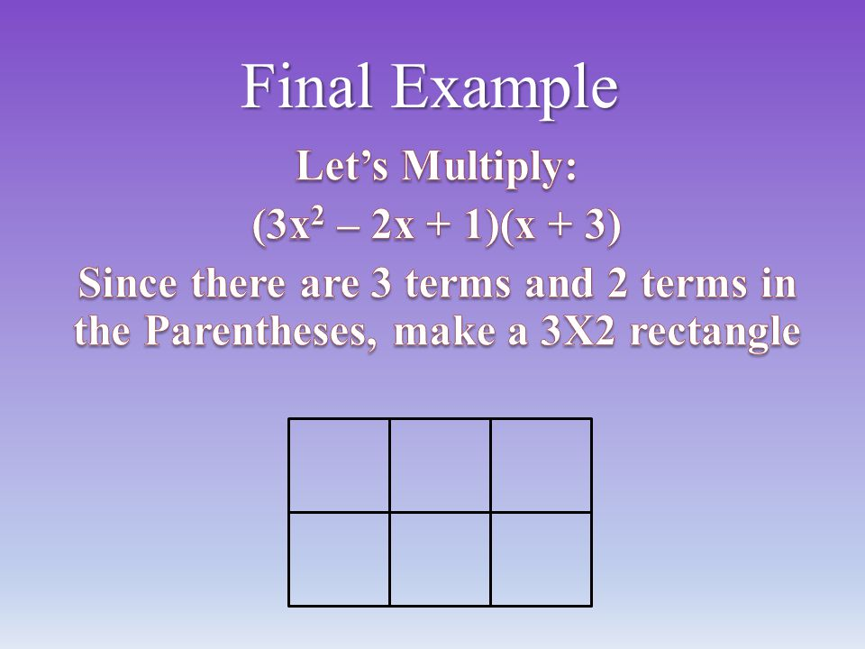 Final Example Let's Multiply: (3x2 – 2x + 1)(x + 3)